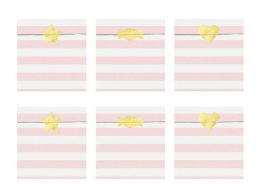 Papieren zakjes gestreept licht roze met gouden sticker 6 stuks