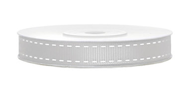 Grosgrain lint met stiksel print 15 mm zilver-wit