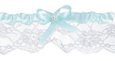 Kousenband licht blauw satijn en wit kant
