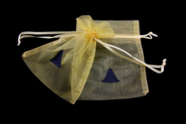 Organza zakjes 10 x 15 cm goud met zwart kerstboom