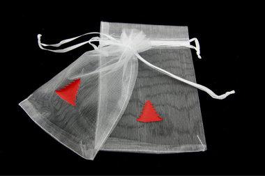 Organza zakjes 10 x 15 cm wit met rode kerstboom