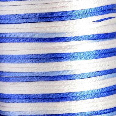 Satijnkoord 2 mm blauw wit tinten verloop