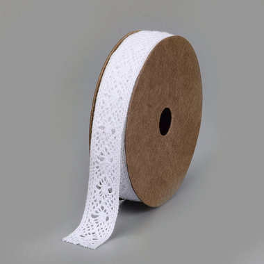 Katoen kant wit 15 mm breed 2 yard rol nr 10