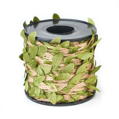 Jute touw met groene blaadjes 10 meter rol