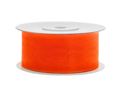 Organza lint 38 mm oranje